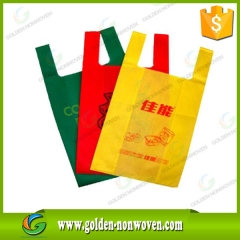 Bolso no tejido de la camiseta 25gr calor tnt sello hecho por Quanzhou Golden Nonwoven Co.,ltd